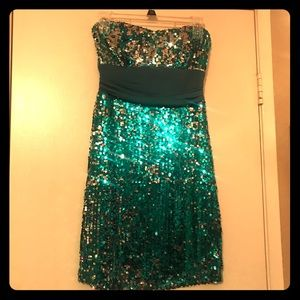 Blue Strapless Sequin Prom Dress